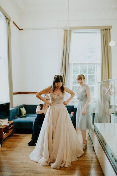 Bridal Preparations | Bride in Watters Blush Ahsan Skirt & Carina Corset Bridal Separates | London Townhall Hotel Wedding | Irene Yap Photography
