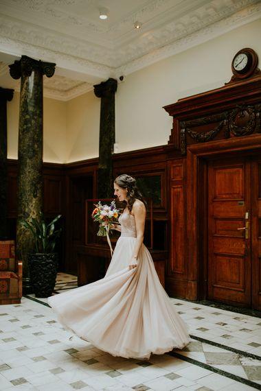 Bride in Watters Blush Ahsan Skirt & Carina Corset Bridal Separates | London Townhall Hotel Wedding | Irene Yap Photography