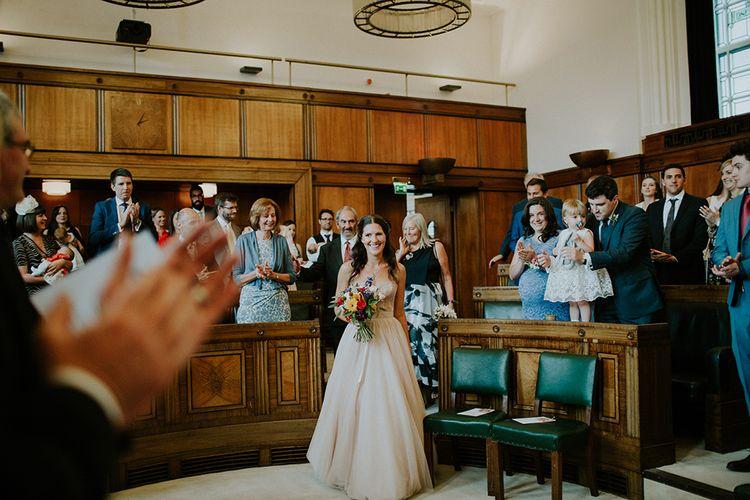 Wedding Ceremony | Bride in Watters Blush Ahsan Skirt & Carina Corset Bridal Separates | London Townhall Hotel Wedding | Irene Yap Photography