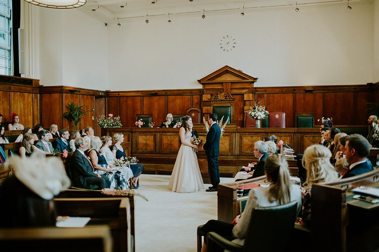 Wedding Ceremony | Bride in Watters Blush Ahsan Skirt & Carina Corset Bridal Separates | Groom in John Lewis Navy Suit | London Townhall Hotel Wedding | Irene Yap Photography