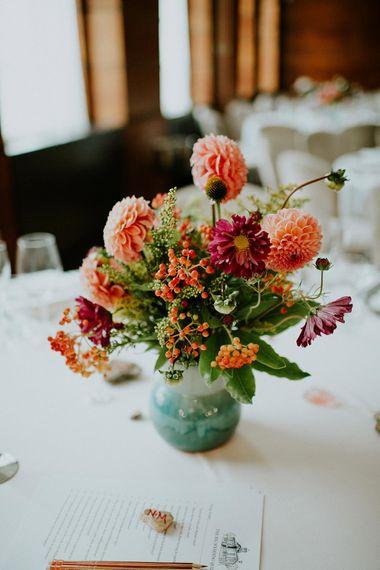 Orange Dahlia Wedding Flower Centrepiece | London Townhall Hotel Wedding | Irene Yap Photography