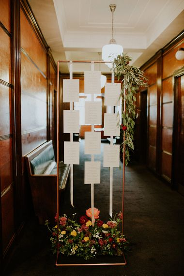 Copper Piping Table Plan with Flowers | London Townhall Hotel Wedding | Irene Yap Photography