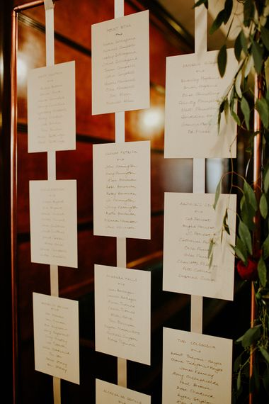 Strung Up Table Plan | London Townhall Hotel Wedding | Irene Yap Photography