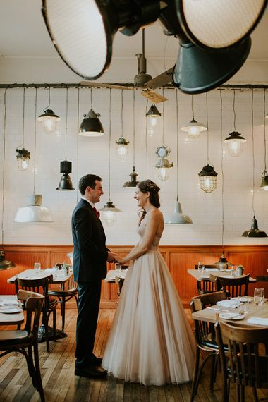 Bride in Watters Blush Ahsan Skirt & Carina Corset Bridal Separates | Groom in John Lewis Navy Suit | London Townhall Hotel Wedding | Irene Yap Photography