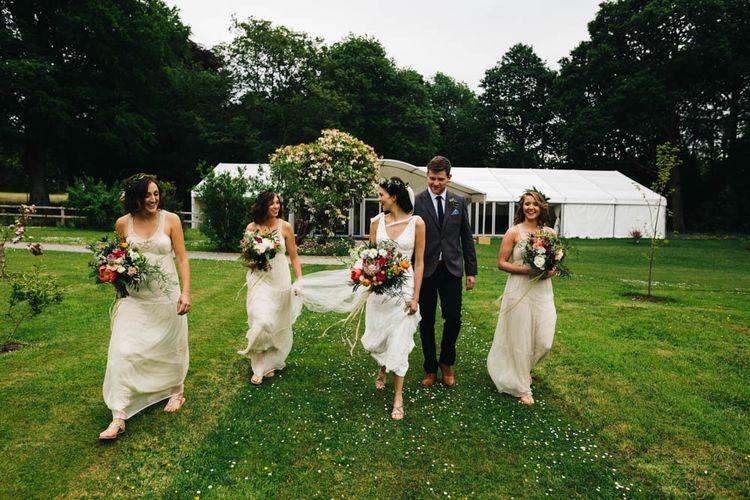 Bridesmaid in Cream Mango Dresses