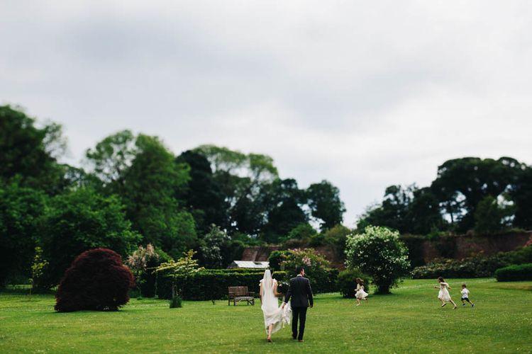 Bride & Groom Country Garden Portrait