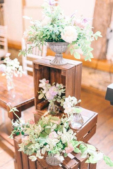 Wooden Crate & Flower Wedding Decor   Pastel Spring Wedding at Loseley Park Barn   Sarah-Jane Ethan Photography   Captured Media Weddings Film