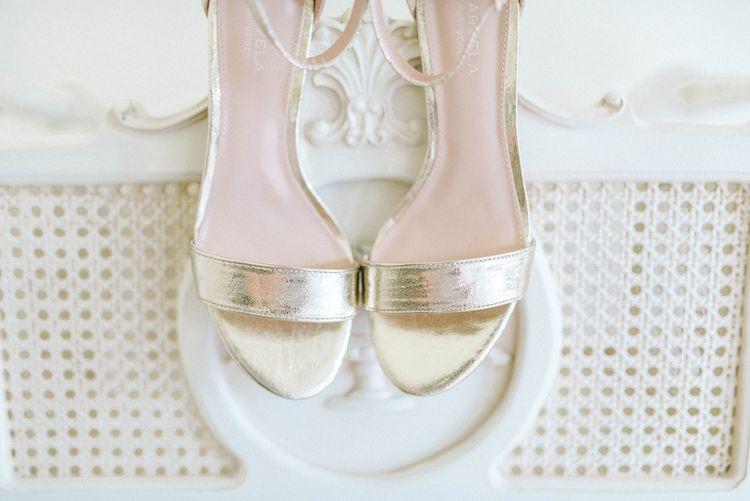 Gold Bridal Sandals   Pastel Spring Wedding at Loseley Park Barn   Sarah-Jane Ethan Photography   Captured Media Weddings Film