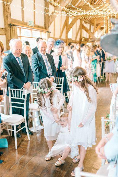 Wedding Ceremony   Flower Girls with Crowns   Pastel Spring Wedding at Loseley Park Barn   Sarah-Jane Ethan Photography   Captured Media Weddings Film