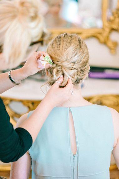 Bridesmaid Hair   Pastel Spring Wedding at Loseley Park Barn   Sarah-Jane Ethan Photography   Captured Media Weddings Film