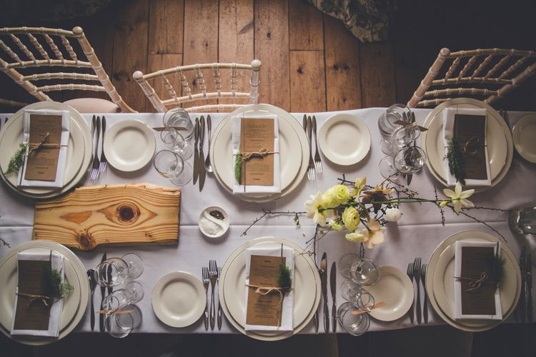Rustic Table Settings With Spring Flowers