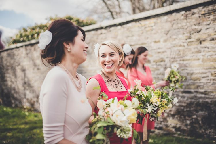 Bridesmaids In Red High Street Dresses