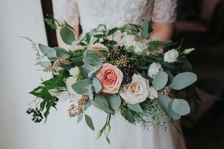 Winter Wedding Bouquet With Roses & Eucalyptus
