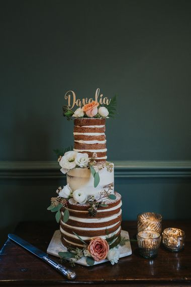 Naked Wedding Cake By Yolk With Fresh Flowers