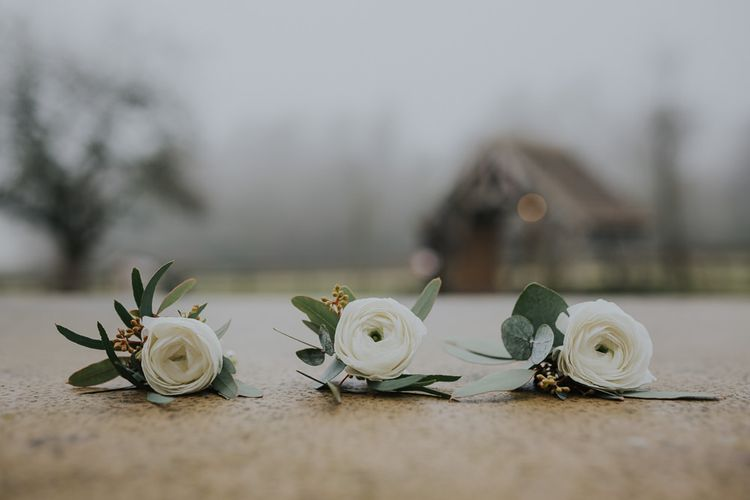 Winter Buttonholes With White Ranunculus From The Rose Shed