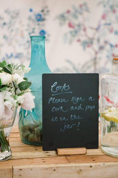 Corks Alternative Guest Book | Beautiful Classic Wedding at Cornwell Manor | Lucy Davenport Photography