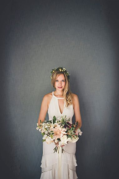 Beautiful Bride in Temperley Wedding Dress With Bouquet by The Garden Gate Flower Company
