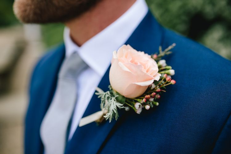 Pink Rose Buttonhole For Groom