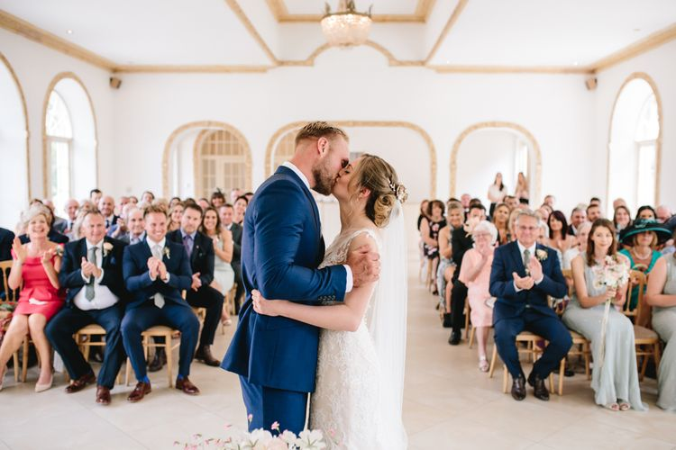 Elegant Pastel Wedding At Northbrook Park With Bride In Maggie Sottero With Rose Gold Lila Head Piece & Groom In Navy Suit By Reiss With Bridesmaids In ASOS And Images From Parkershots