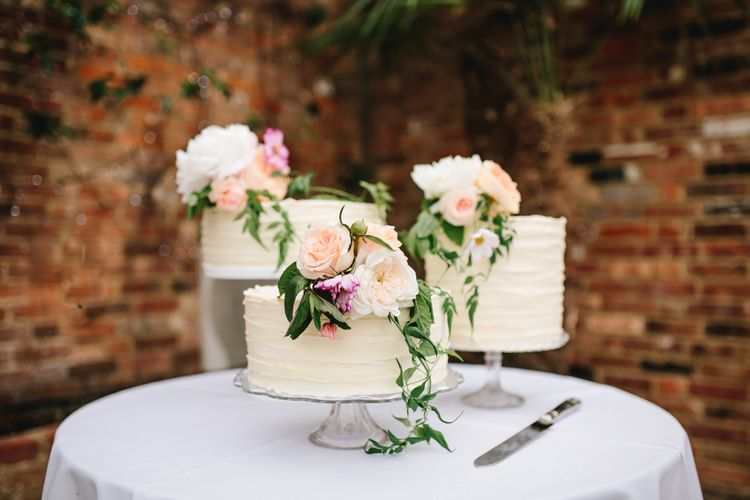 Buttercream Wedding Cakes With Fresh Flowers
