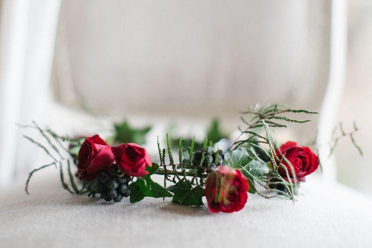 Red Rose Flower Crown For Bride