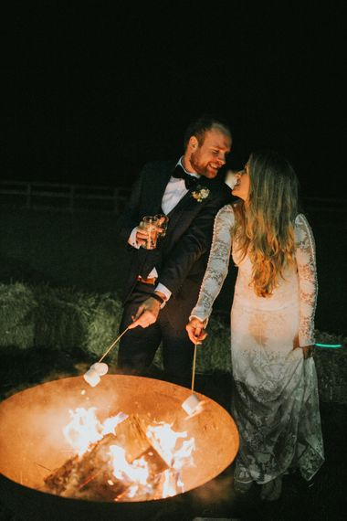 Fire Pit & Marshmallows At Wedding