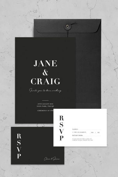 Classic Monochrome Invite Set By Nat's Paper Studio