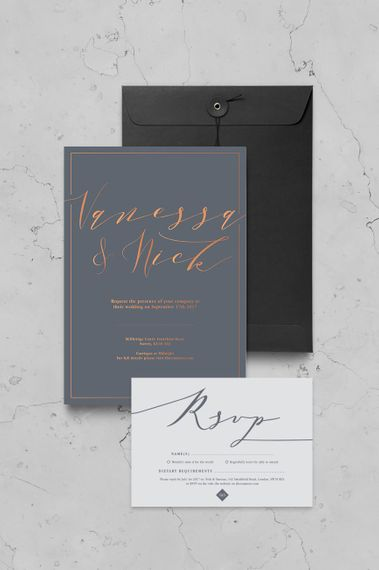 Copper Calligraphy Wedding Stationery By Nat's Paper Studio