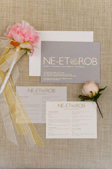 Emily & Jo Gold Foil Wedding Stationery   Outdoor Blush Flower Filled Wedding at Pennyhill Park, Surrey Planned by Something Blue Weddings   Anushe Low Photography   Reel Weddings Film