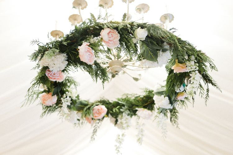 Hanging Floral Installation   Blush Flower Filled Wedding Reception at Pennyhill Park, Surrey Planned by Something Blue Weddings   Anushe Low Photography   Reel Weddings Film