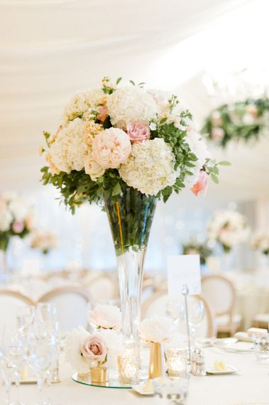 Tall Floral Centrepiece with Hydrangeas & Roses   Blush Flower Filled Wedding Reception at Pennyhill Park, Surrey Planned by Something Blue Weddings   Anushe Low Photography   Reel Weddings Film