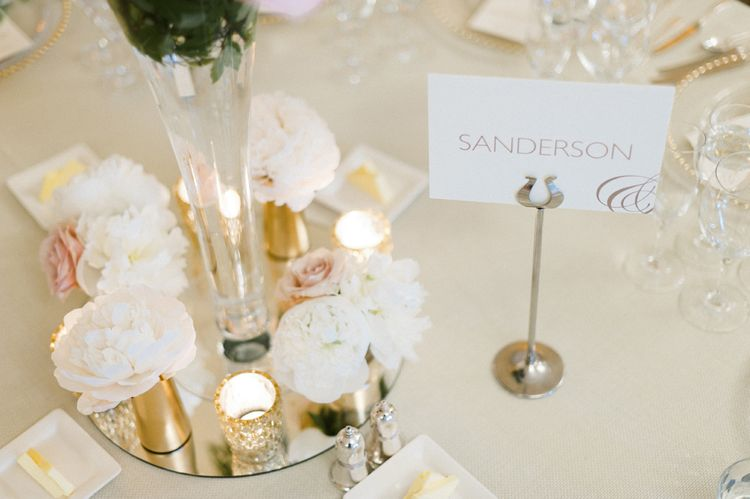 Emily & Jo Elegant Wedding Stationery Table Names   Blush Flower Filled Wedding Reception at Pennyhill Park, Surrey Planned by Something Blue Weddings   Anushe Low Photography   Reel Weddings Film