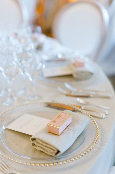 Charbonnel & Walker Wedding Favour   Glass Plate Place Setting   Blush Flower Filled Wedding Reception at Pennyhill Park, Surrey Planned by Something Blue Weddings   Anushe Low Photography   Reel Weddings Film