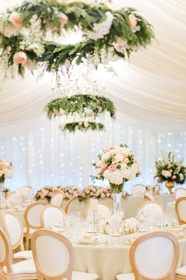 Blush Flower Filled Wedding Reception at Pennyhill Park, Surrey Planned by Something Blue Weddings   Anushe Low Photography   Reel Weddings Film