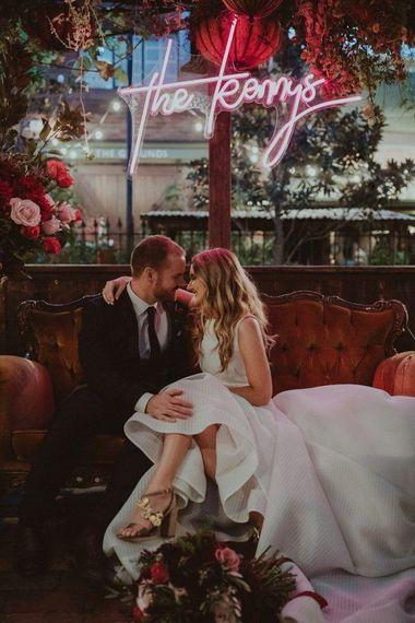 Personalised Neon Sign For Wedding | Olguin Photography via Junebug Weddings