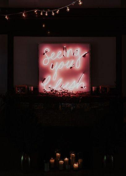 Seeing You Blush Neon Sign For Wedding | Image by Wild Souls Studio via Junebug Weddings