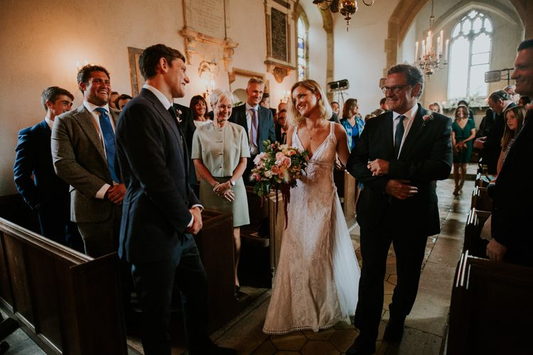 Church Ceremony | Bespoke Wedding Dress by Adam Dixon Made Using Material from Mothers Vintage Bridal Gown | Lucy Turnbull Photography