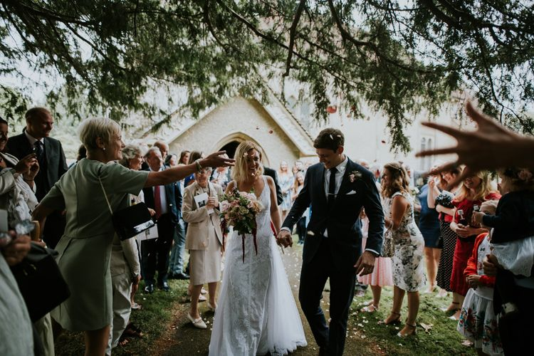 Confetti Moment | Bespoke Wedding Dress by Adam Dixon Made Using Material from Mothers Vintage Bridal Gown | Lucy Turnbull Photography