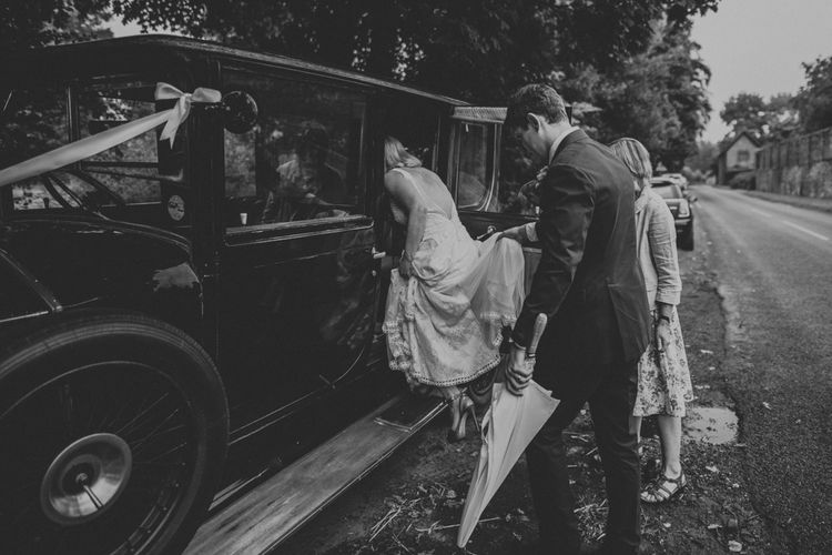 Wedding Car | Bespoke Wedding Dress by Adam Dixon Made Using Material from Mothers Vintage Bridal Gown | Lucy Turnbull Photography