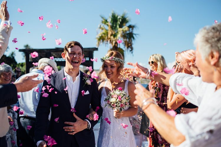 Confetti Moment | Outdoor Greek Destination Wedding at The Peligoni Club | Lucy Turnbull Photography