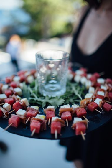 Canapes | Outdoor Greek Destination Wedding at The Peligoni Club | Lucy Turnbull Photography