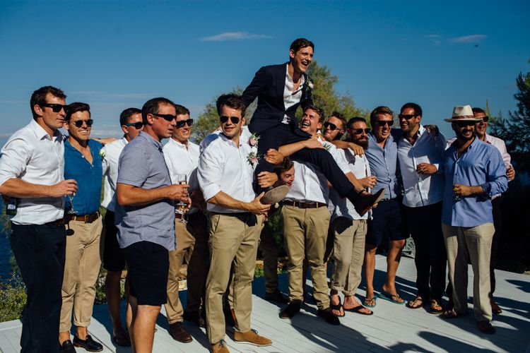 Groomsmen | Outdoor Greek Destination Wedding at The Peligoni Club | Lucy Turnbull Photography