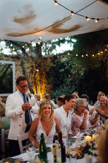 Wedding Reception Speeches | Bride & Groom | Outdoor Greek Destination Wedding at The Peligoni Club | Lucy Turnbull Photography