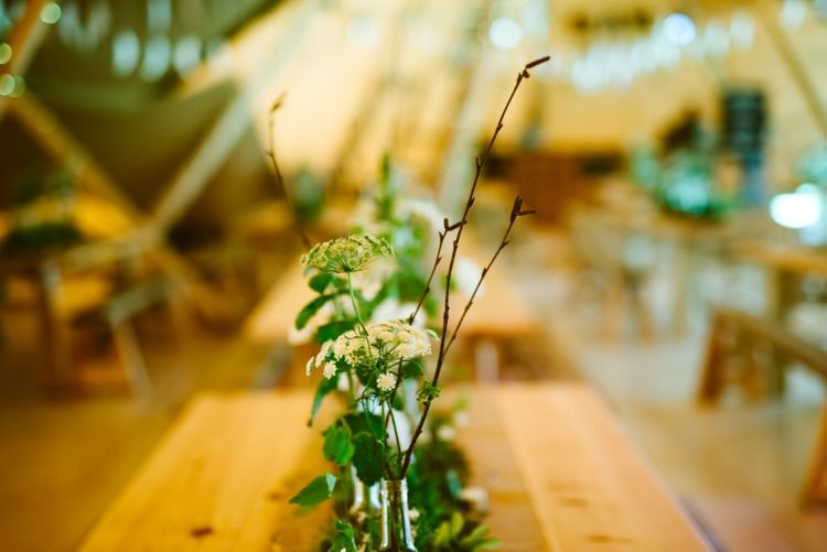 Festival Wedding with Tipi Reception and Wooden Trestle Tables