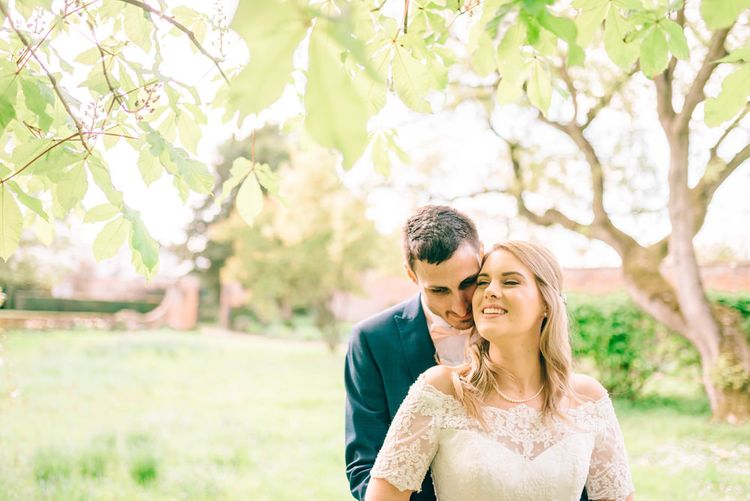 Bride In Bardot Neck Gown By Charlotte Balbier | Rustic Pastel Wedding At Blake Hall | Images By Matt Ethan Photography