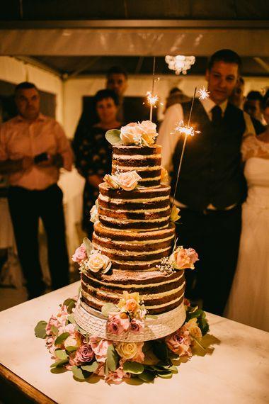 Chocolate Naked Wedding Cake with Sparkler