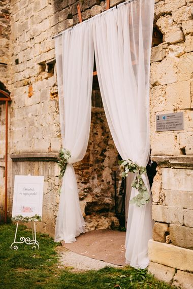 Tulle Curtain with Eucalyptus Tie Backs