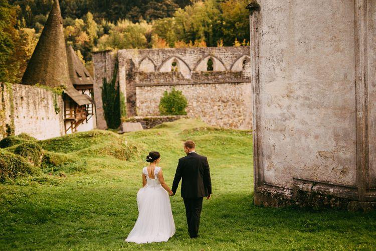 Bride & Groom at an Old Ruin Monastery in Slovenia