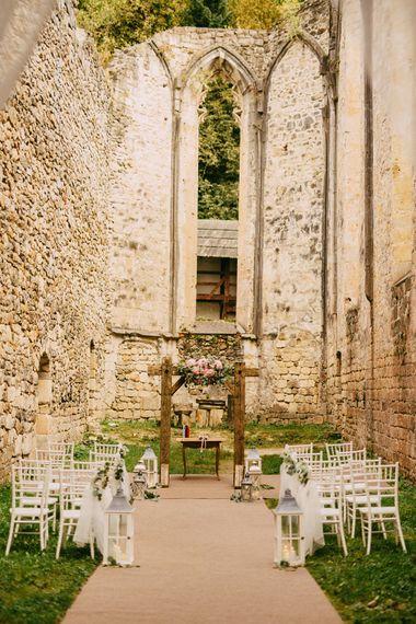 Intimate Outdoor Ceremony at Ruin Monastery Žiče Charterhouse in Slovenia
