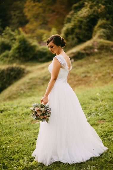 Bride in Romantic Tulle & Lace Wedding Dress